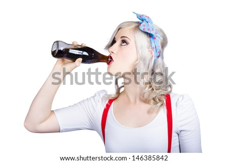 Vintage image of fifties pin-up promo woman drinking soft drink from glass cola bottle - stock photo