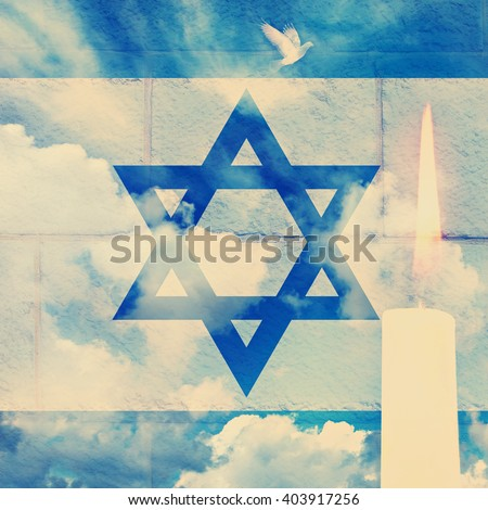 Vintage image of Israeli national flag wall defense and sky background with burning candle - stock photo
