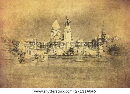 Vintage image of National Congress building, Buenos Aires, Argentina - stock photo