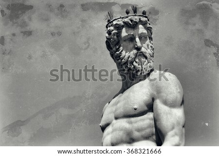 Vintage image of Neptune, god of freshwater and the sea in Roman religion - stock photo