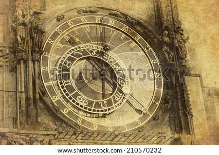 Vintage image of Prague Astronomical Clock, Orloj,  in the Old Town of Prague - stock photo