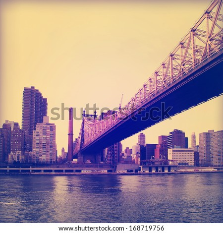 Vintage image of Queensboro Bridge in New York City. - stock photo