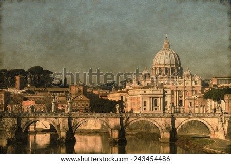 Vintage image of Saint Peter basilica from the river Tevere. Rome, Italy - stock photo
