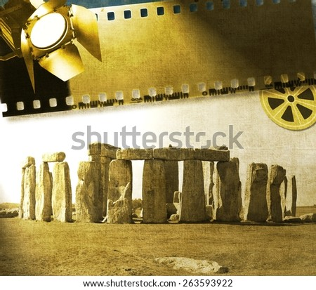 Vintage image of Stonehenge with reel, film strip and reflector - stock photo