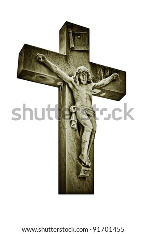 Vintage image of the crucifixion of Jesus Christ isolated on white - stock photo