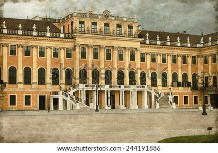 Vintage image of the facade of Schonbrunn Palace in Vienna, Austria - stock photo