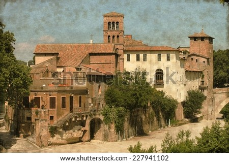 Vintage image of Tiberina island in the Tiber river of Rome, Italy