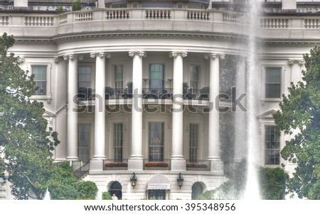 Vintage image of zooming the South Lawn of the White House, Washington D.C. HDR photo