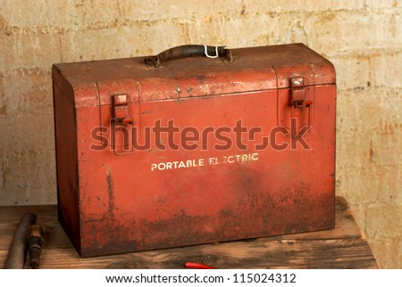 vintage industrial tool box - stock photo