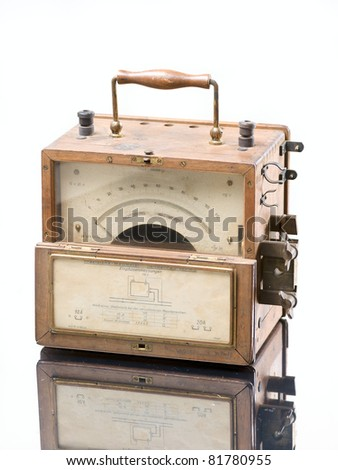 vintage industrial wattmeter  isolated over white