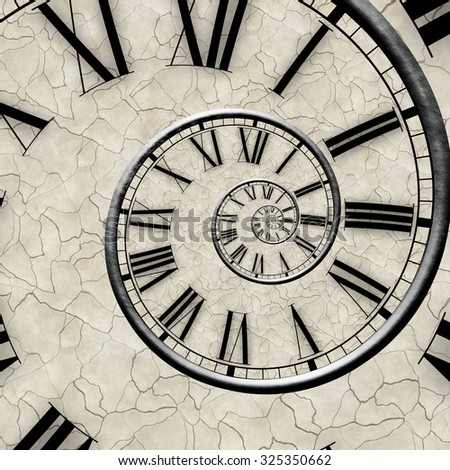 Vintage infinity spiral clock. Time concept. - stock photo