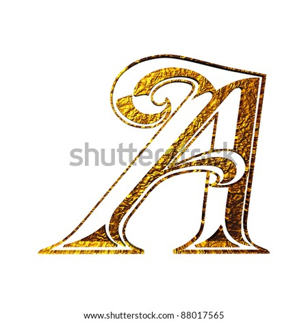 Vintage initial.  gold alphabet symbol A  Isolated on white.