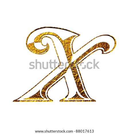 Vintage initial.  gold alphabet symbol X  Isolated on white.