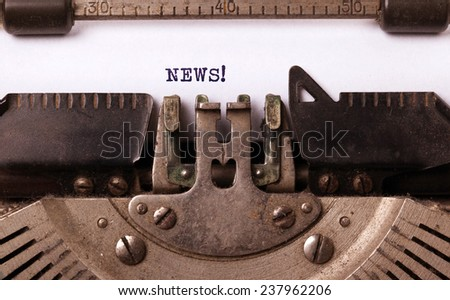 Vintage inscription made by old typewriter, News - stock photo
