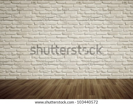 Vintage interior of white brick wall and old wooden floor. 3D render. - stock photo