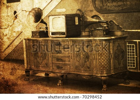 vintage interior with old TV phonograph player - stock photo