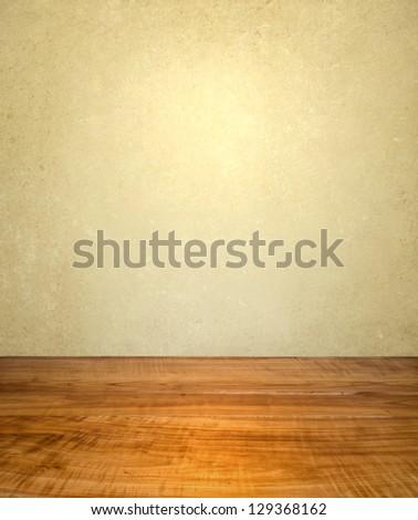 Vintage interior with wooden floor - stock photo