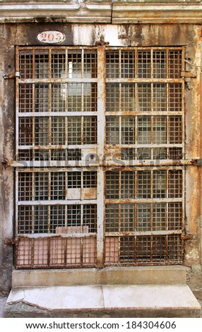 Vintage iron grille door with rust and scratched painting - stock photo