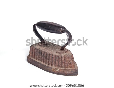 Vintage iron isolated on white background