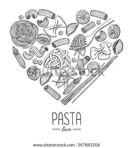 Vintage italian pasta restaurant illustration in heart shape. Hand drawn banner. Great for menu, banner, flyer, card, business promote. - stock photo