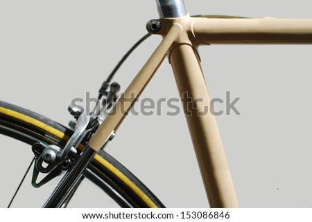 Vintage Italian Road Bicycle from the '80s  (close-up) on white background. - stock photo