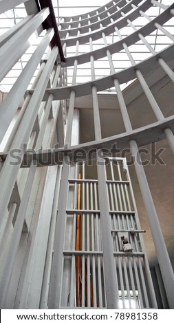 Vintage jail interior - stock photo