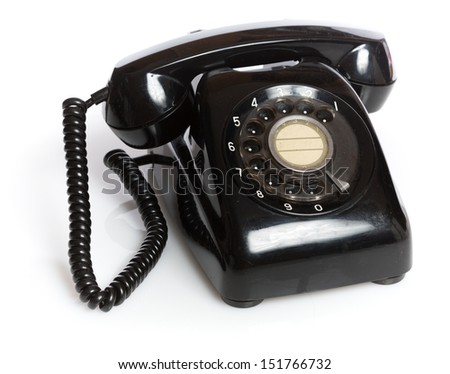 Vintage Japanese rotary dial telephone isolated on white background - stock photo