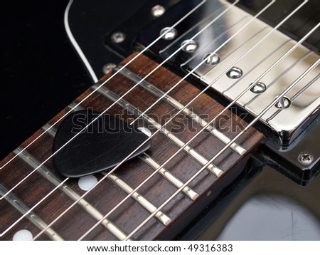 vintage jazz guitar detail - stock photo