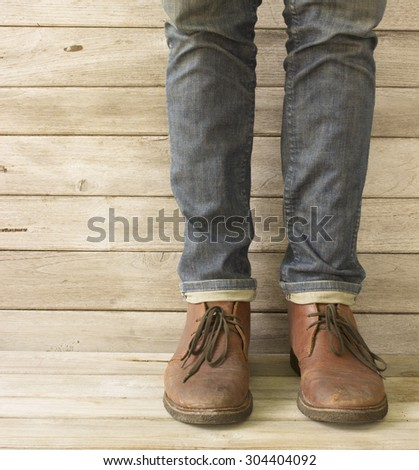 Vintage,Jeans and Leather shoes - stock photo