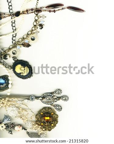 Vintage jewelery border - stock photo