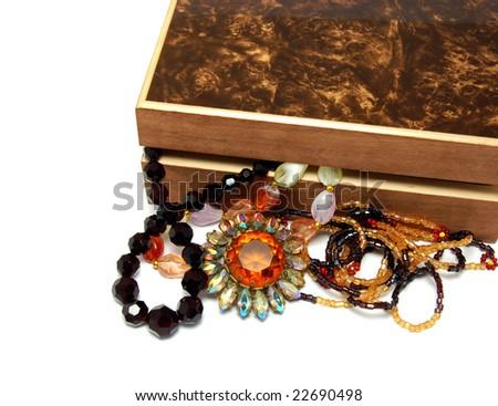 Vintage jewelry and box - stock photo
