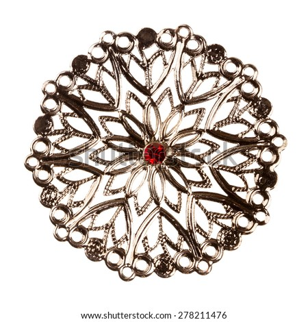 Vintage jewelry element - silver brooch - isolated on white - stock photo