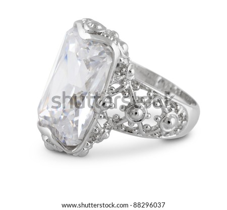 vintage jewelry ring isolated on white - stock photo