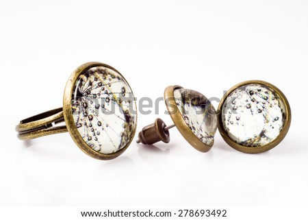 Vintage jewelry set made with antique gold isolated on white background - stock photo