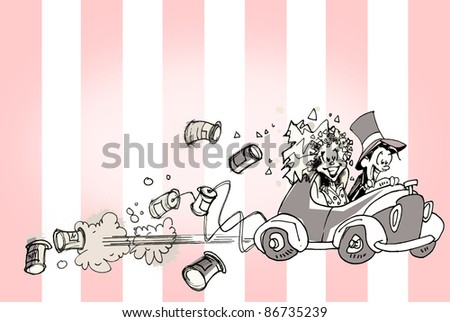 VINTAGE JUST MARRIED - stock photo