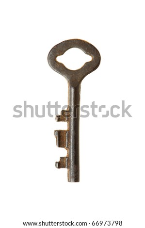 vintage key with rust isolate on white