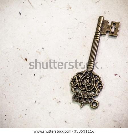 vintage key with texture - stock photo