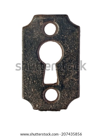 vintage keyhole plate over white, clipping path - stock photo