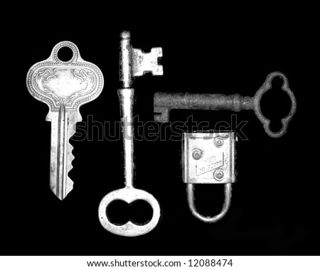 vintage keys and lock - stock photo
