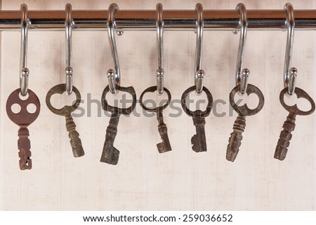 Vintage Keys hanging on the wall - stock photo