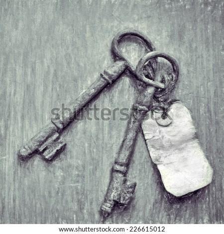 vintage keys  -- illustration based on own photo image - stock photo