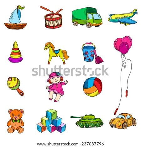 Vintage kids toys color sketch icons set of yacht drum truck airplane isolated  illustration.