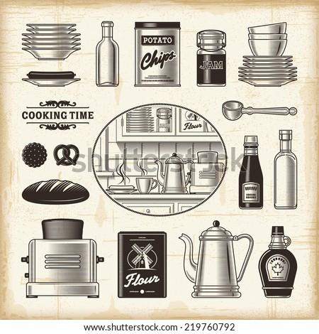 Vintage kitchen set - stock photo