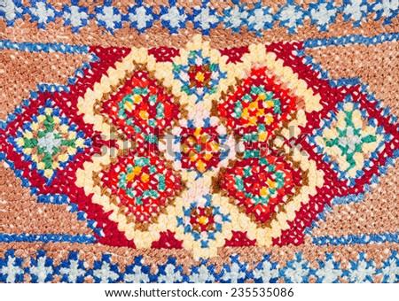 vintage knitting craftsmanship - cross-stitch lace close up - stock photo