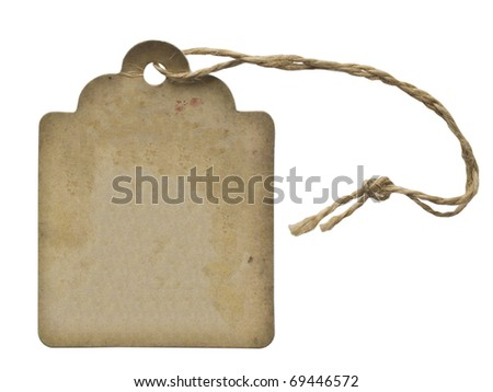 vintage label with string isolated on white - stock photo
