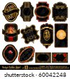 Vintage Labels - 16 Black and Gold Elements with distressed Antique look - Set 13 - stock photo