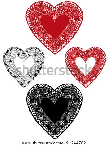 Vintage Lace Heart Doilies, red and white antique designs, baby hearts border, copy space for Valentines Day, Mothers Day, anniversary, birthday, Christmas, albums, scrapbooks, cake decorating.  - stock photo
