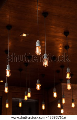 Vintage lamp decorative in home. Casual style. - stock photo
