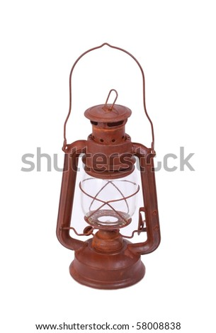 Vintage lamp isolated on white - stock photo