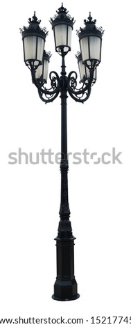Vintage Lamp Post Street Road Light Pole isolated on white with clipping path - stock photo